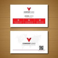 White and Red Global Business Card Template  vector