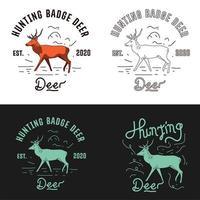 conjunto emblema de ciervos vintage vector