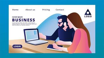 Business Landing Page with People Using Laptop vector