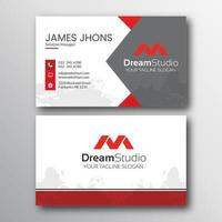 cartão de visita geométrico vermelho, branco e cinzento