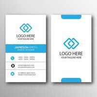 cartão de visita vertical branco e azul simples