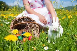 Child petting Easter bunny photo