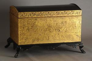 Old decorated wooden trunk