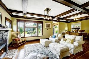 Coffered ceiling in living room.