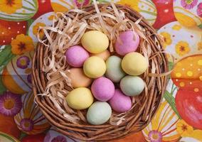 huevo de pascua en la canasta