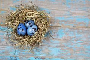 Easter decorations. Eggs in nests on wooden background