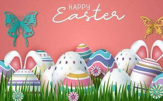 Happy Easter Pink background with realistic Easter eggs