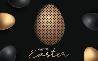Happy Easter background with realistic Easter egg with dot design