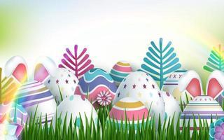 glücklicher Osterhintergrund mit mehrfarbigen realistischen Eiern