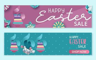 bannière de vente joyeuses pâques avec lapin en couches dans un style papier