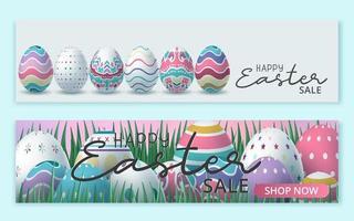 feliz banner de venta de pascua con huevos de pascua