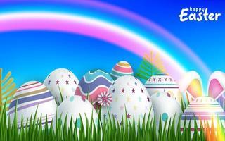 glücklicher Osterhintergrund mit bunten realistischen Ostereiern