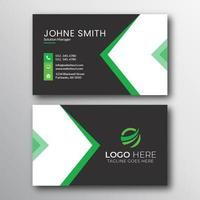 Geometric Black Green and White Business Card Design vector