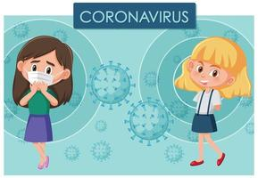 Coronavirus poster design with sick girl and friend