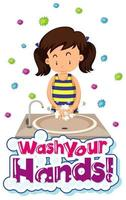 Wash your hands virus prevention poster