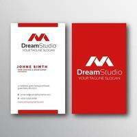 modelo de cartão de visita simples vermelho e branco vertical