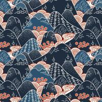 Oriental Mountains Pattern vector