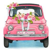 Pink Watercolor Vintage Car with Wedding Flowers vector