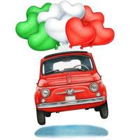 Red Vintage Car with Heart Shaped Balloons vector