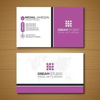 Simple Purple and White Business Card Template  vector