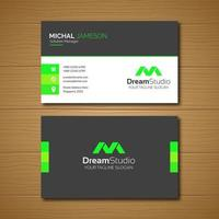 Black with Neon Green Simple Business Card Template  vector