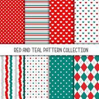 coleção de vermelho e verde-azulado de padrões sem emenda