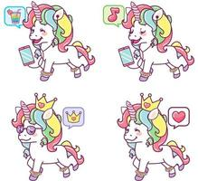 Colorful Unicorns with Different Expressions