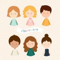 Set of Young Kid Characters