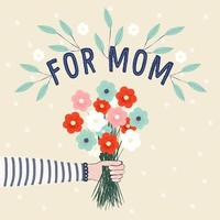 Hand Drawn Mothers Day Bouquet Design  vector