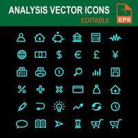 iconos de análisis azul vector