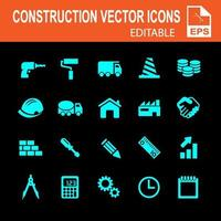 ícones de construção azul sobre fundo preto vetor