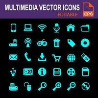 iconos multimedia electrónicos azules vector