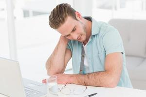Concentrated casual businessman thinking photo