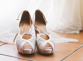 Elegant bridal shoes.