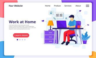 Man on laptop working from home landing page vector