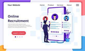 Business man online recruitment landing page vector