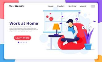Man in chair working from home landing page vector