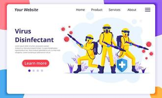 Disinfectant workers in hazmat suits landing page vector