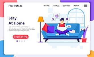 Man staying at home using laptop landing page vector