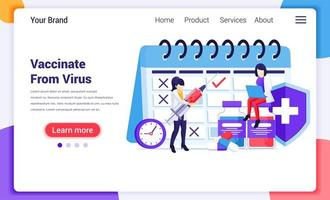 Doctors and vaccination landing page vector