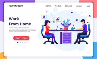 People working from home at desk landing page vector