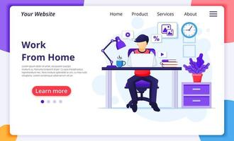 Person working from home at desk landing page vector