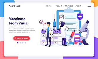 Vaccination from virus landing page vector