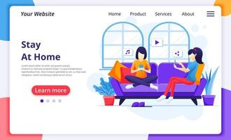 Women on couch using devices at home landing page vector