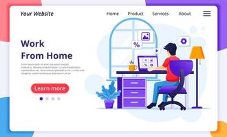 Man on computer working from home landing page vector