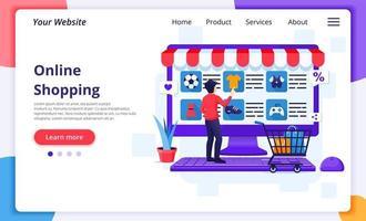 Man choosing item online shopping landing page vector