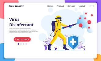 Worker in hazmat suit spraying disinfectant landing page