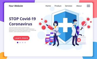 Doctor and nurse fighting Coronavirus landing page vector