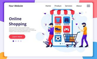 Two men online shopping landing page