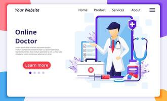Online male doctor and medical elements landing page vector
